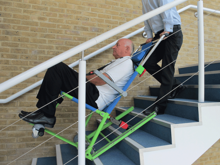 Evacuation Chair Excel, transporting passenger down stairs