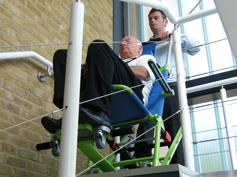 Evacuation Chair Excel about to go down stairs