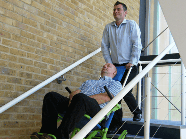 Evacuation Chair in use on stairs