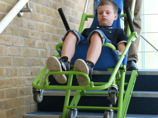 Evacuation Chair evacuating a young boy