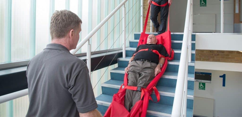 a patient secured inside a rescue mattress