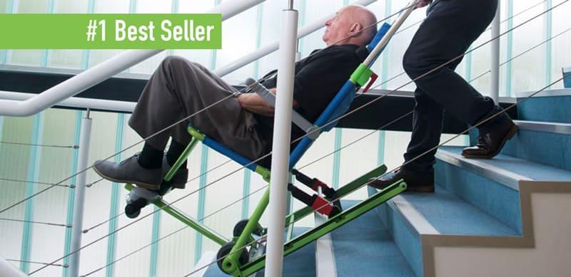 man being evacuated down stairway in evacusafe evacuation chair excel model