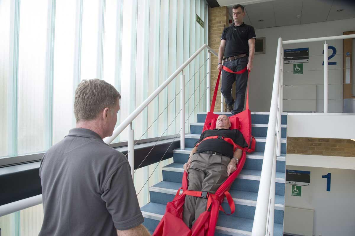 adjustable-evacuslider-in-use-on-stairs